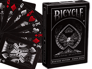 Ellusionist Bicycle Shadow Masters cards showing off their red and black color scheme as well as their tuck box
