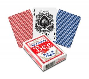 Bee playing cards in red and blue with an ace