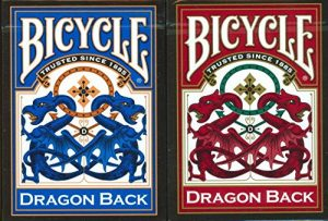 Bicycle dragon back playing cards in red and blue boxes