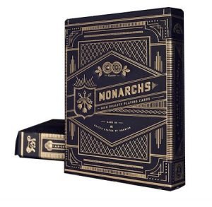 Monarch playing cards in a dark blue box