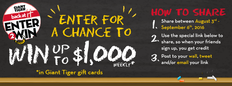 Giant Tiger $1,000 Gift Card Contest
