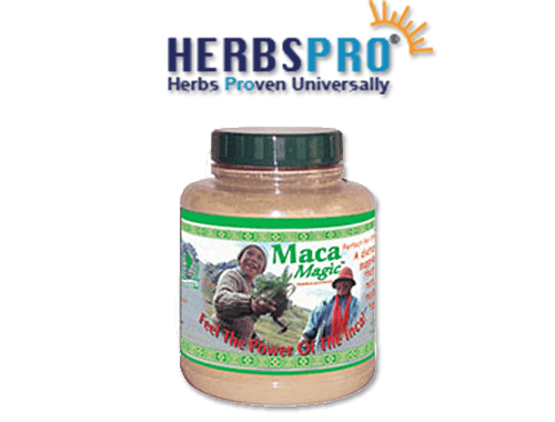 HerbsPro Logo featuring a maca powder jar