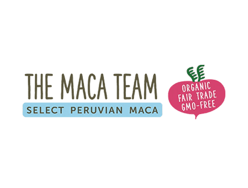 The maca team logo featuring a red maca plant