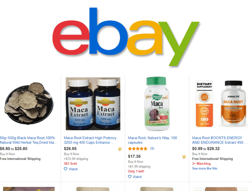 eBay logo featuring maca products