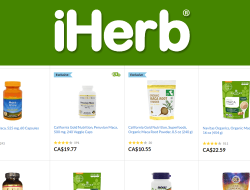 iHerb logo featuring maca products